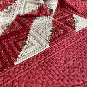 red and cream quilt