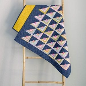 Graphite and pastel log cabin quilt
